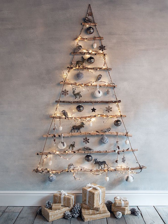 frosted branches wall tree - Alternative Christmas trees via First Sense