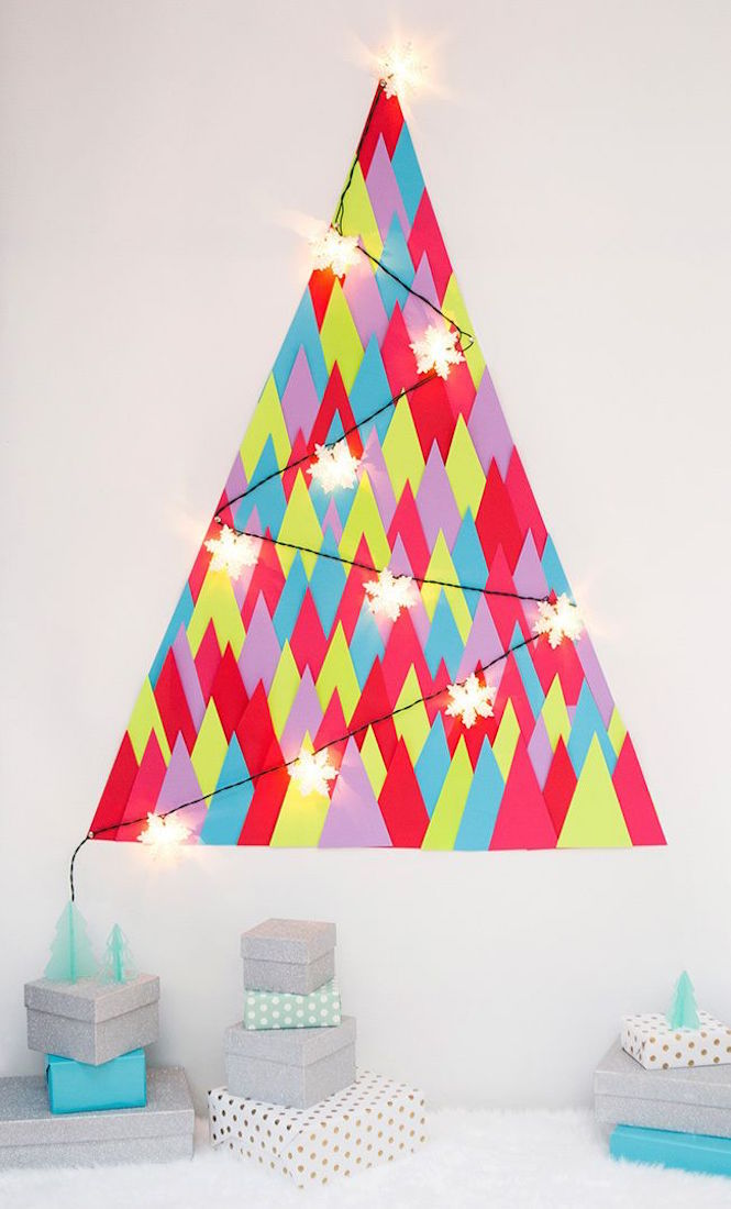 DIY paper wall tree - Alternative Christmas trees via Arty Home
