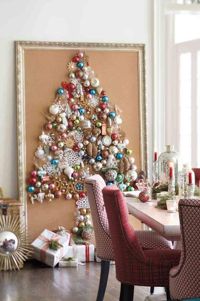 Framed ornament tree - Alternative Christmas trees via First Sense