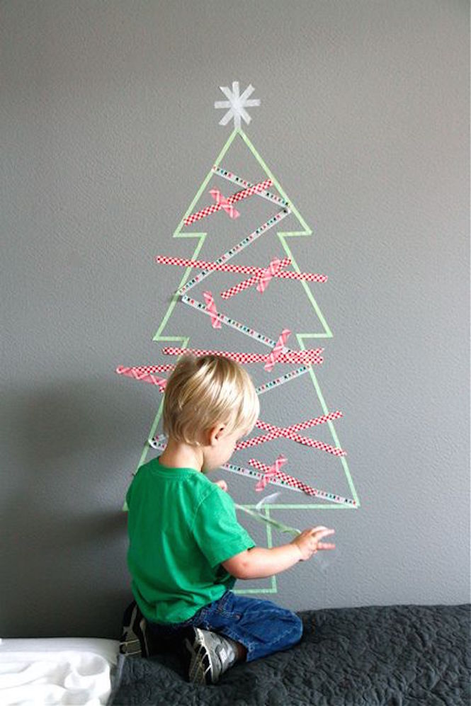 Washi tape tree - Alternative Christmas trees via First Sense