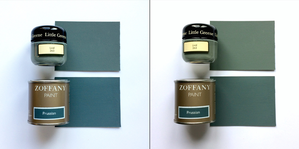 Paint samples Livid and Prussian