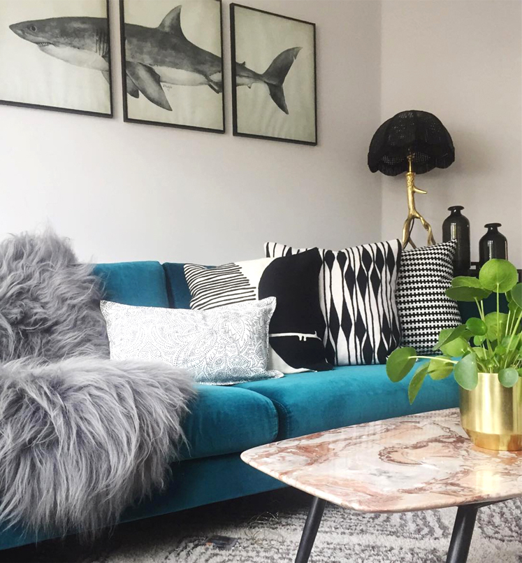 Lauren's living room with teal sofa.jpg