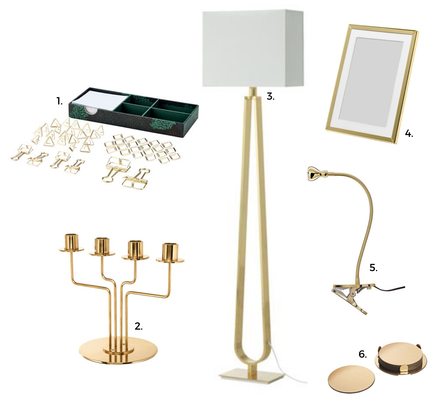 IKEA gold and brass products