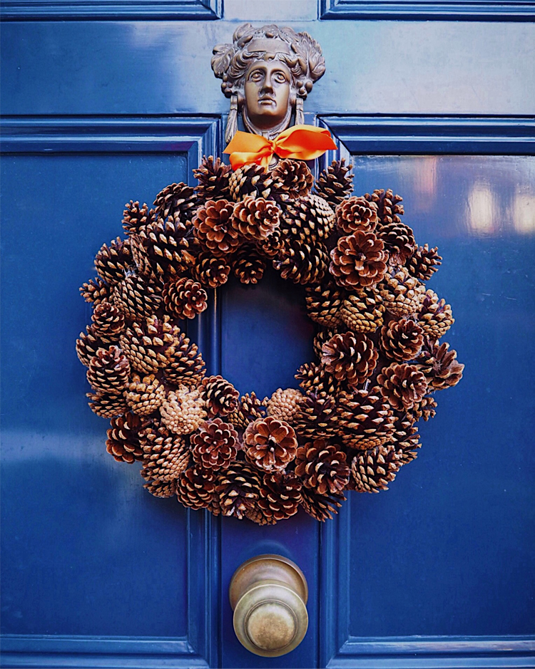DIY Autumn Fir Cone Door Wreath by Melanie Lissack