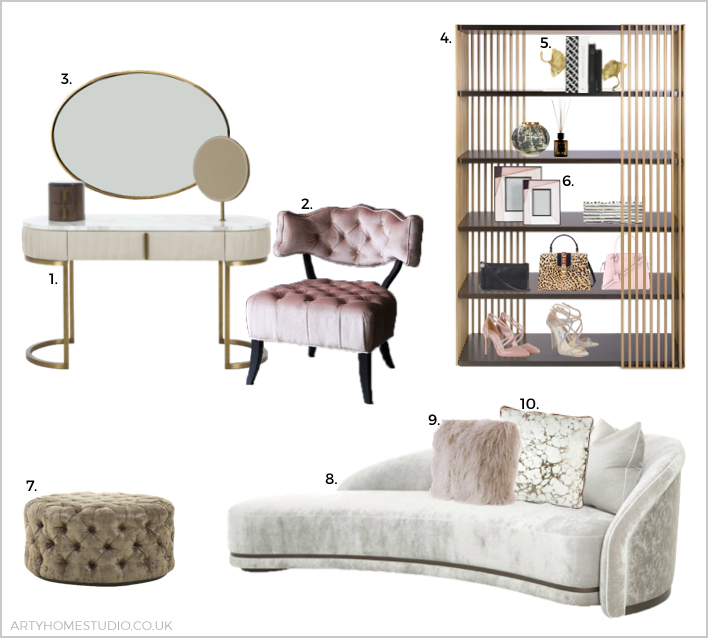 Glam dressing room moodboard by Arty Home