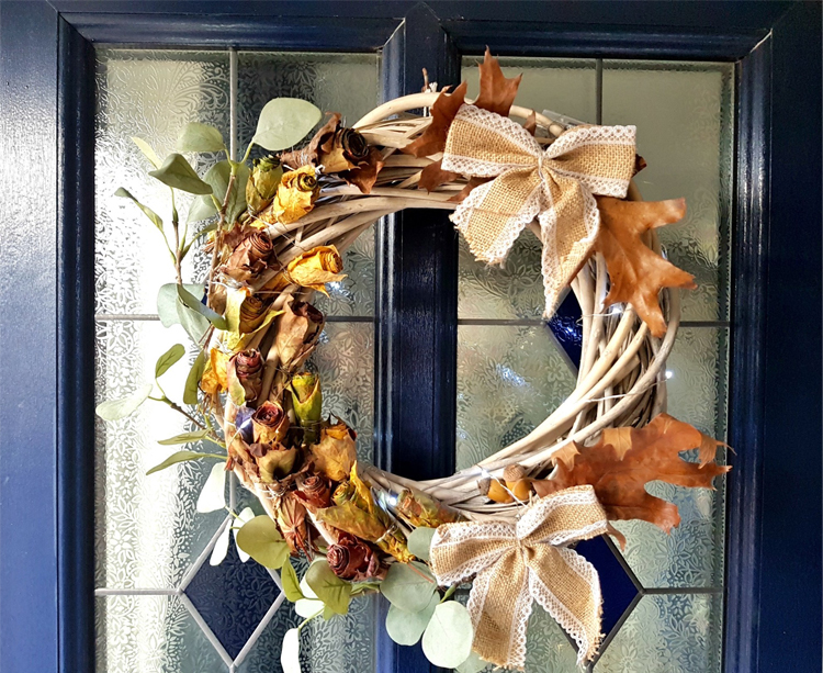 Leaf rose wreath by Very Me Interiors