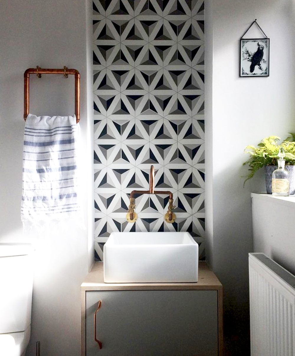 Feature geometric tile in bathroom