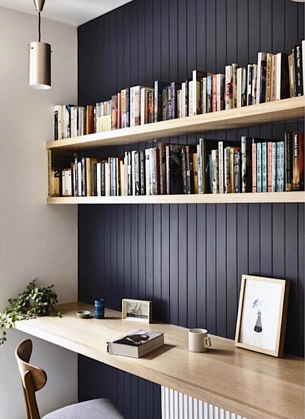 Home office with tongue-and-groove wall panelling and timber desk top and shelves || Natural timber in interiors - FIRST SENSE