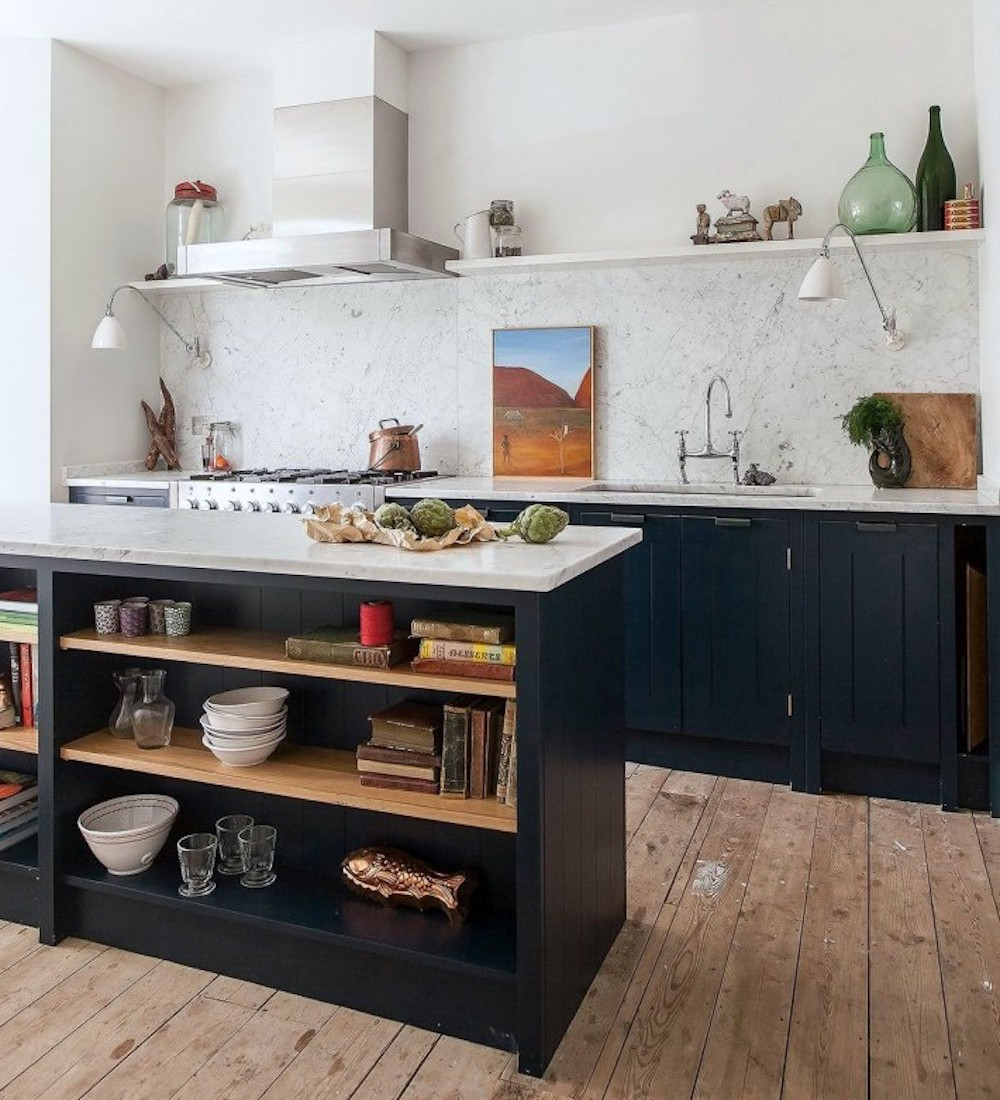 Farrow & Ball Hague Blue and marble kitchen, Skye Gyngell's kitchen