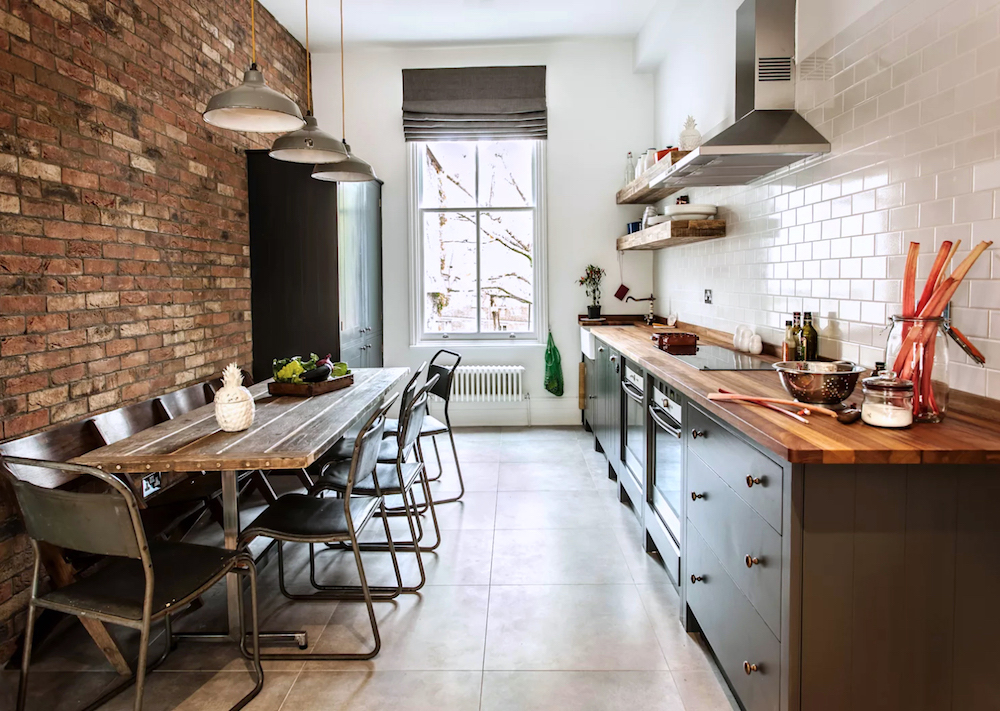 Kitchen diner with exposed brick wall - British Standard W10