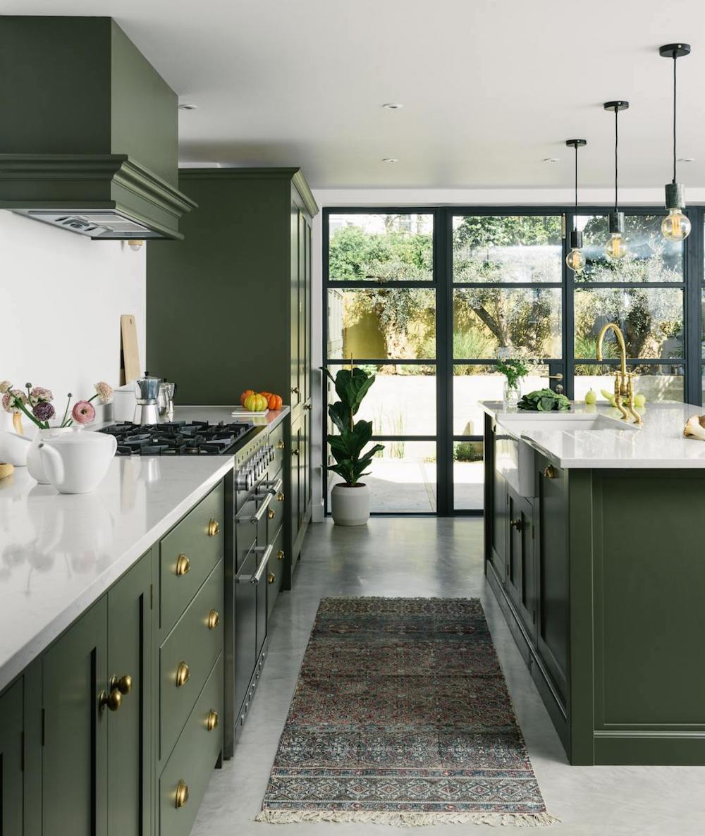 Dark Olive Green Shaker Kitchen in Hove by deVOL