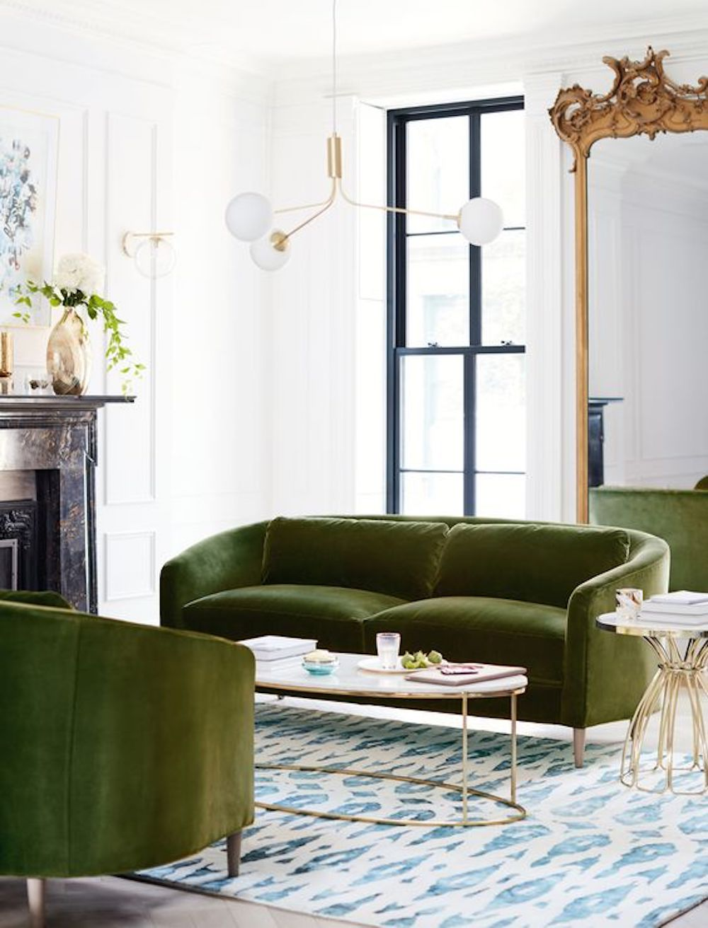 Anthropologie Corinne Sofas in Olive Velvet || Olive green colour inspiration by First Sense