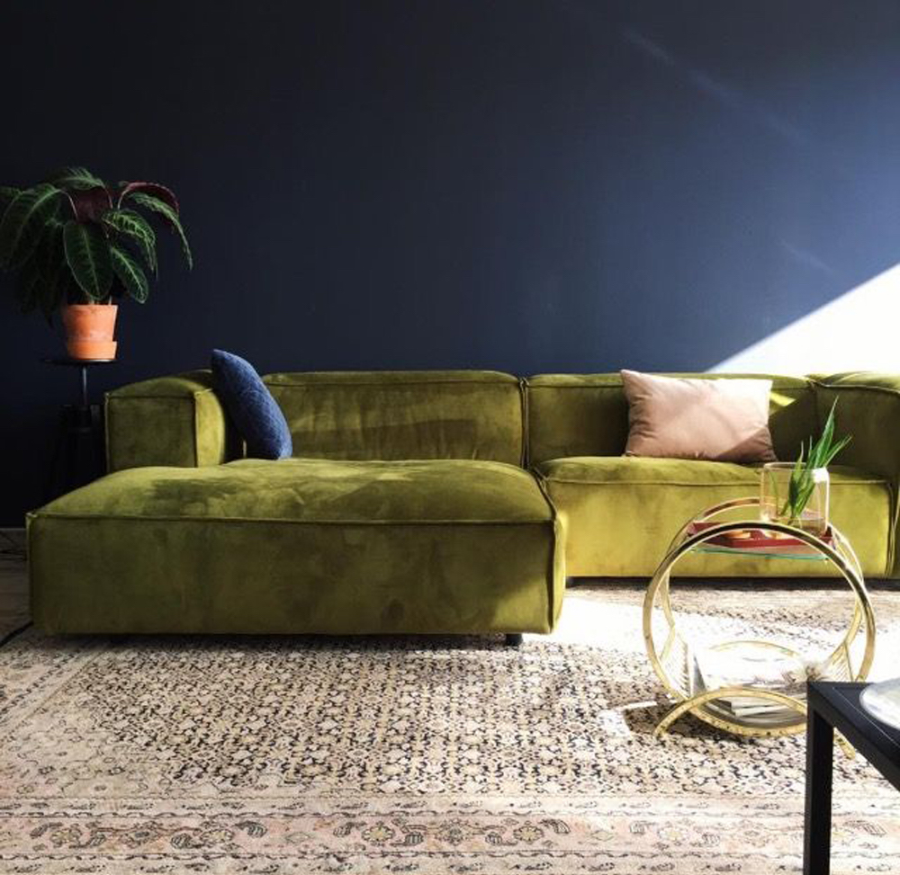 Dunbar sofa by FEST Amsterdam || Olive green colour inspiration by First Sense