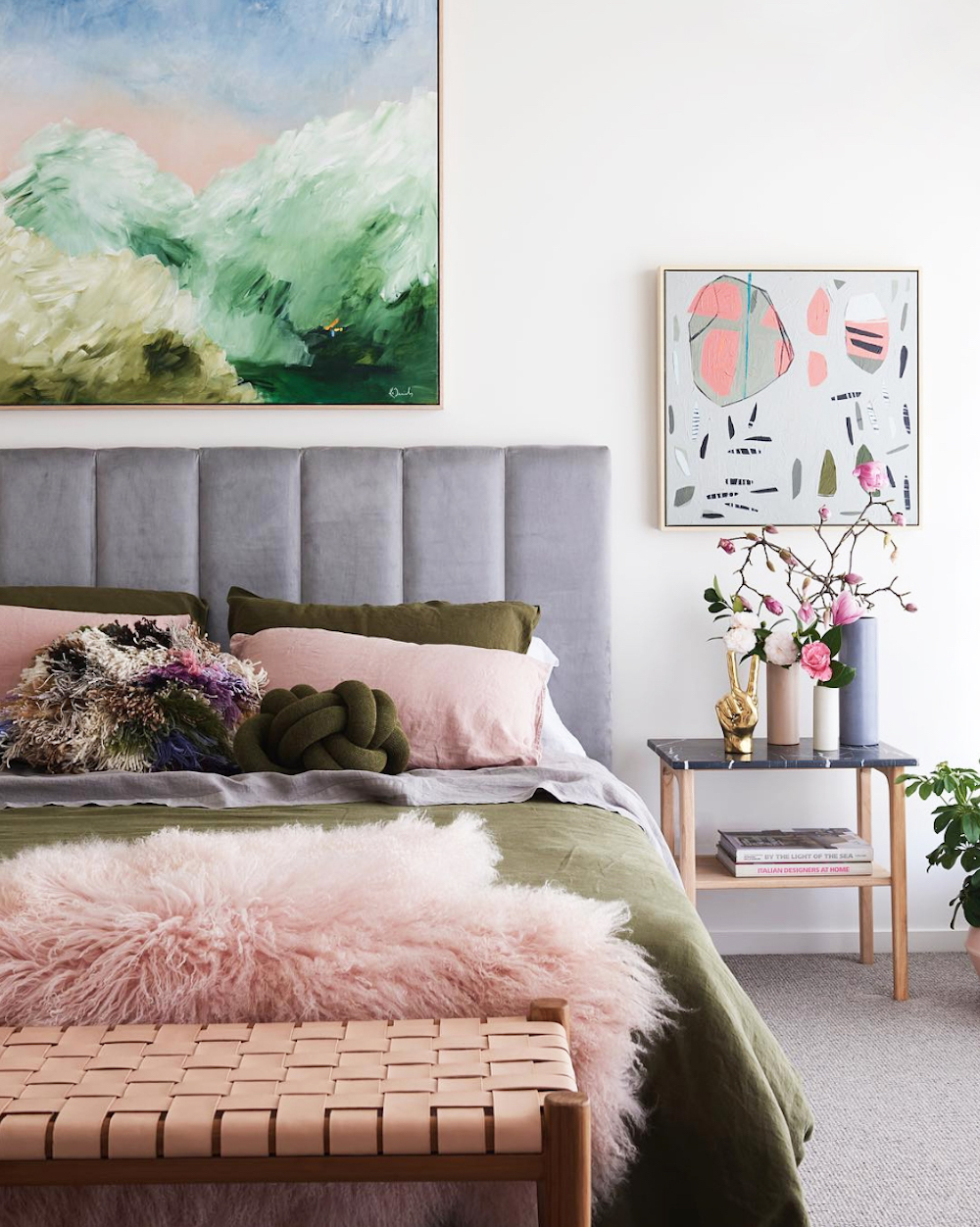 Olive and pink bedroom by Fenton & Fenton || Olive green colour inspiration by First Sense