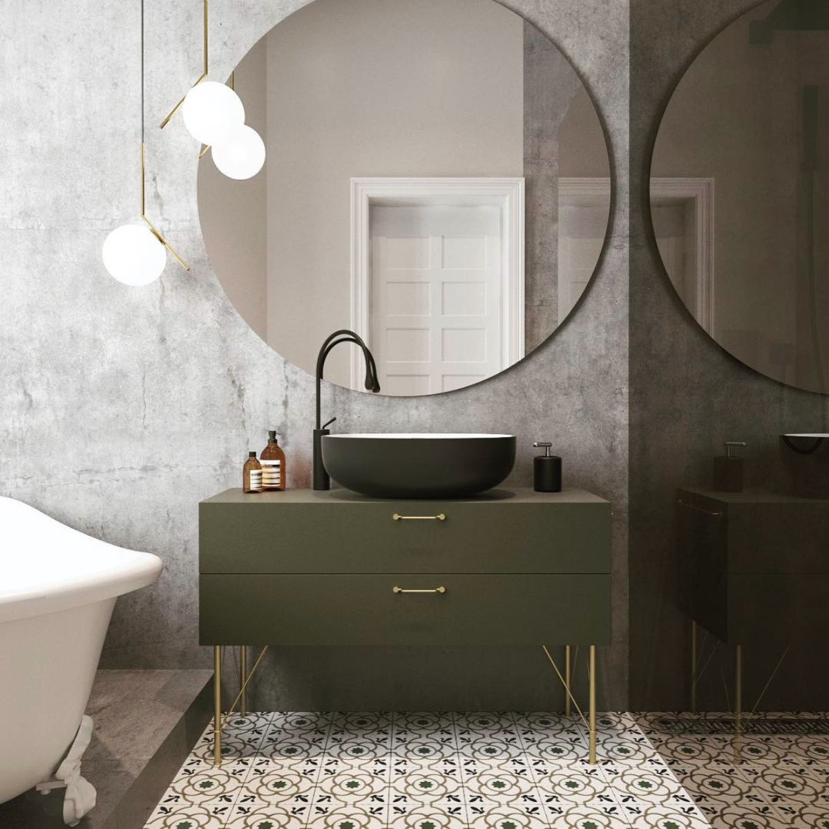 Olive green bathroom vanity, Flos lighting, large round mirror and concrete walls || Designed by Studio E || Olive green colour inspiration by First Sense