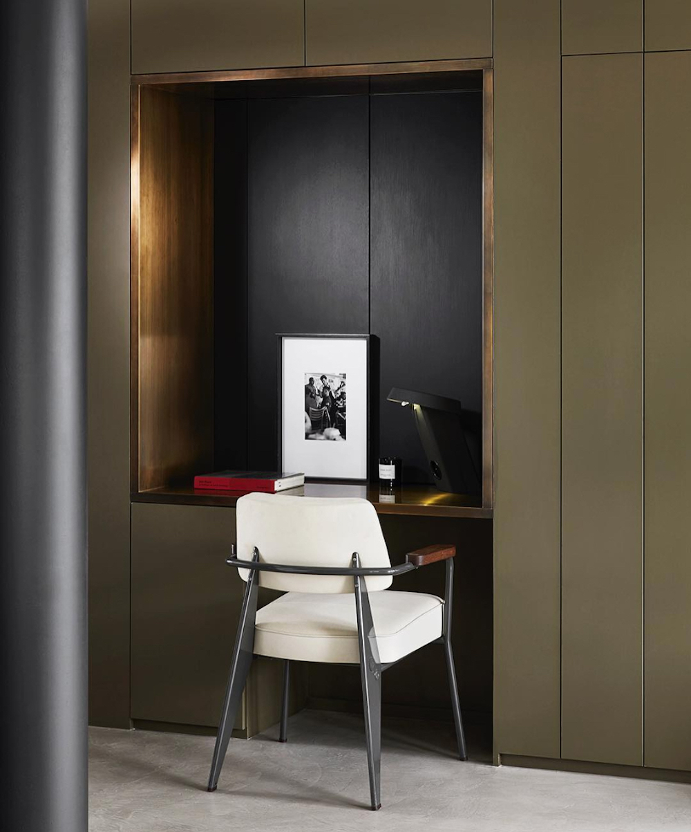 Olive green built in wardrobes    Design by Humbert & Poyet    Olive green colour inspiration by First Sense