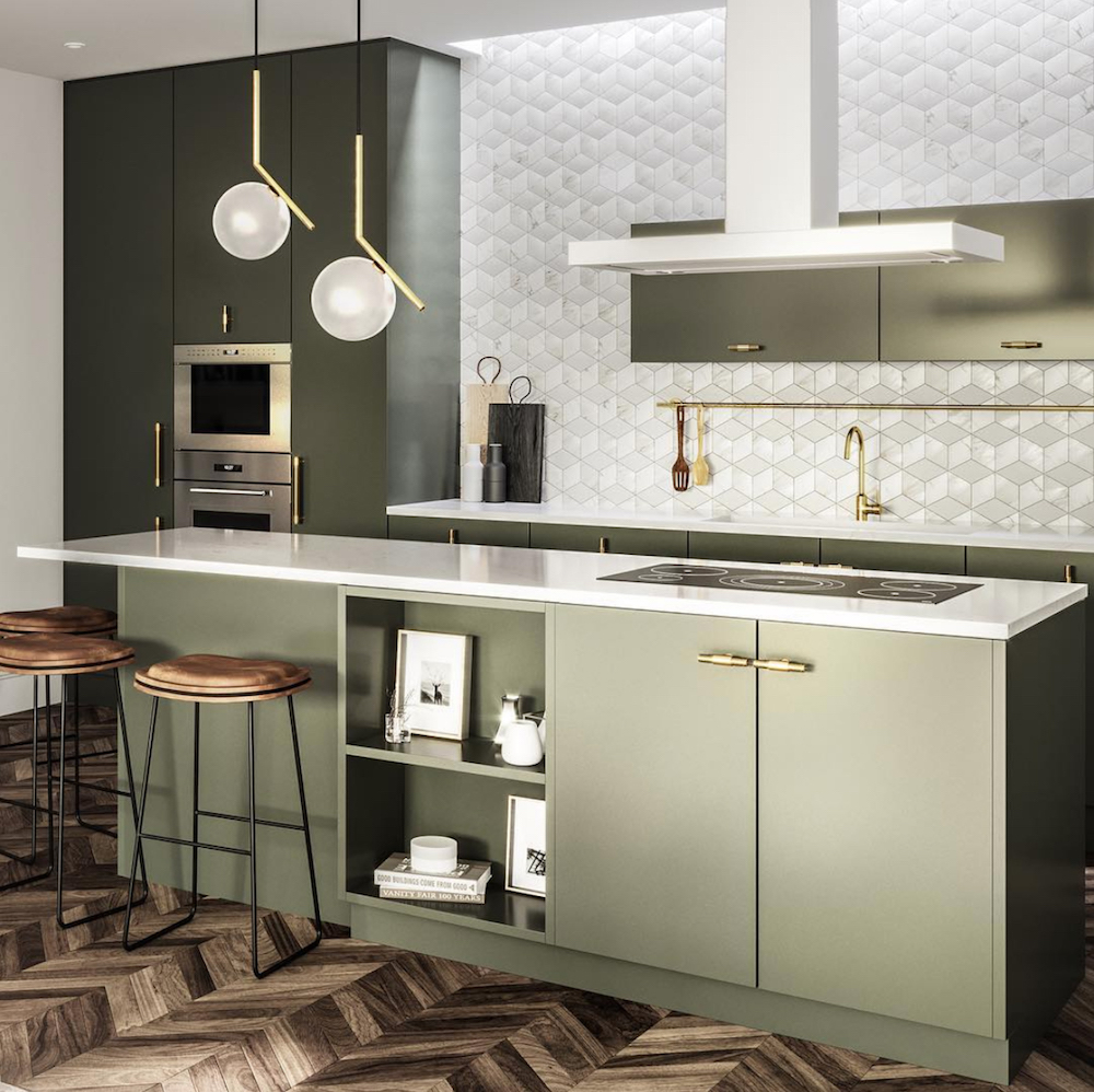 Olive green kitchen by Banda Property || Olive green colour inspiration by First Sense