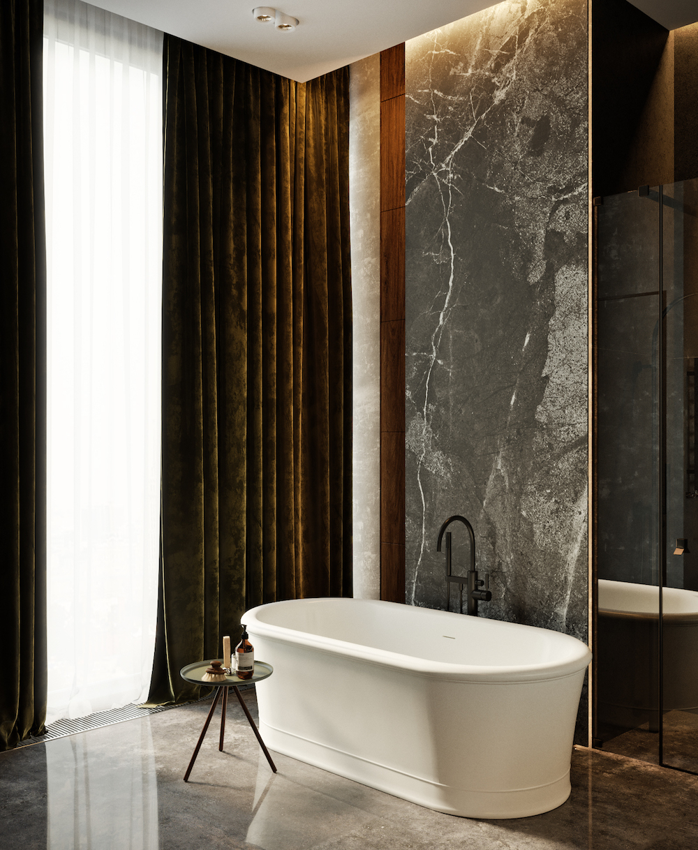 Olive velvet curtains in luxe bathroom   Olive green colour inspiration by First Sense
