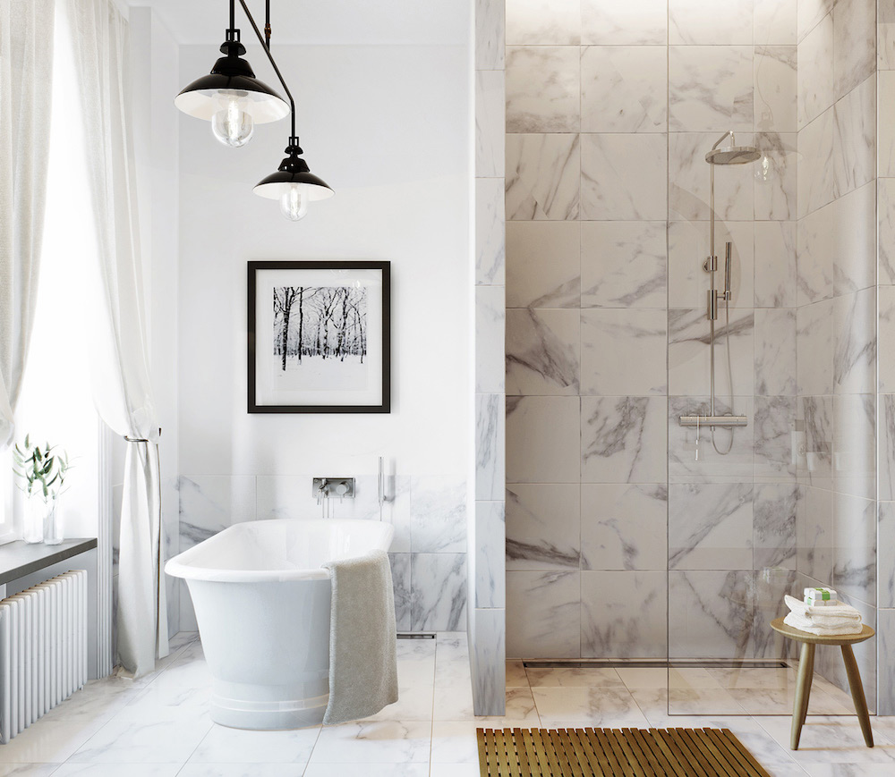 Bathroom with marble tiles