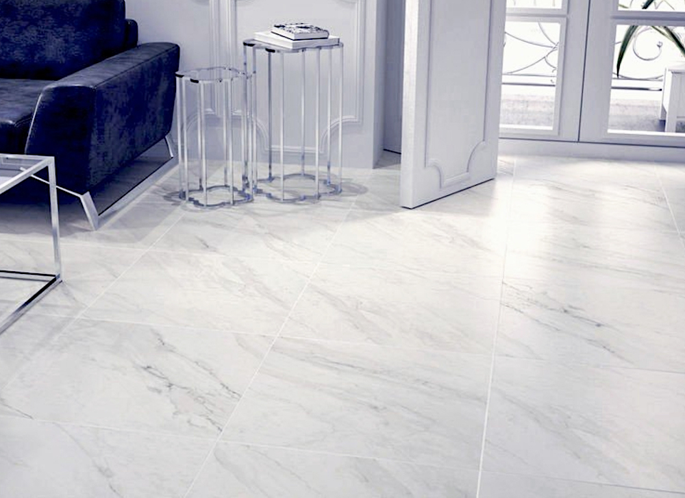 Calacatta marble effect tiles from Total Tiles