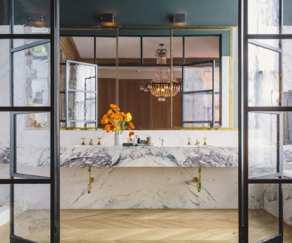 Bathroom renovation tips by First Sense || Jenna Lyons Soho Loft Bathroom