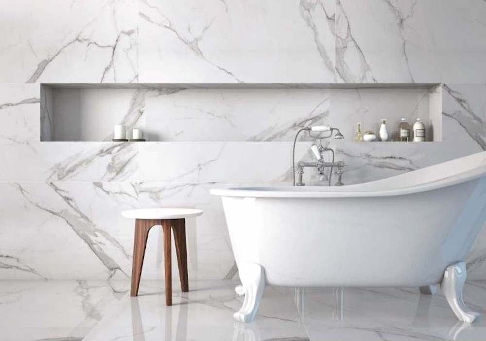 Place White Marble Tiles from Tile Mountain