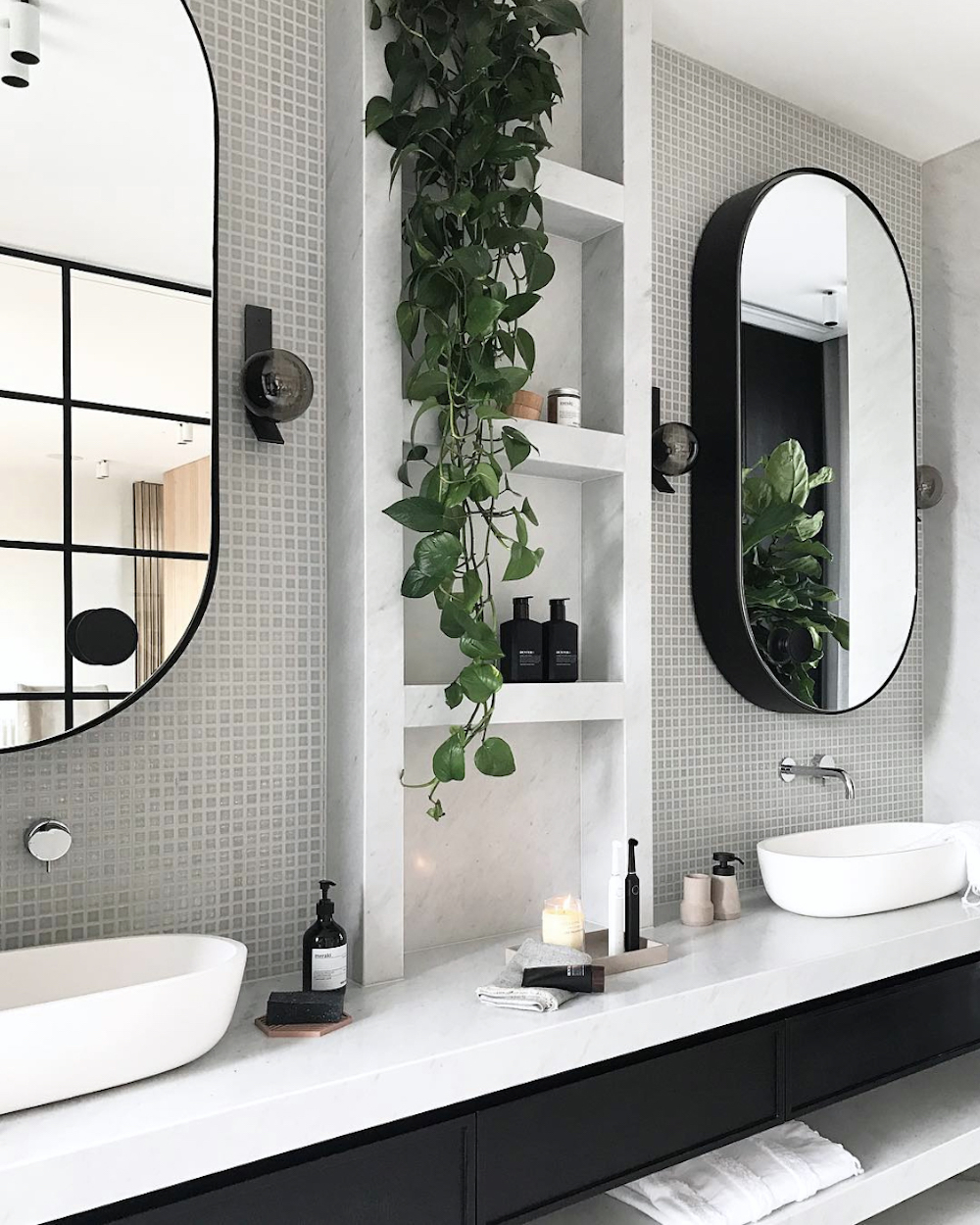 Combining closed and open storage || Bathroom renovation tips by First Sense