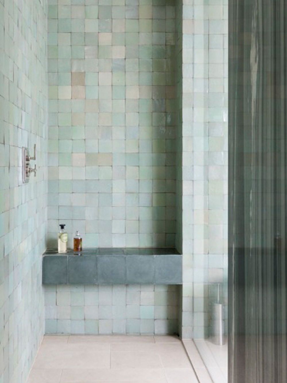 Bathroom renovation tips by First Sense || Eau de nil Zellige tiles create a soothing bathroom