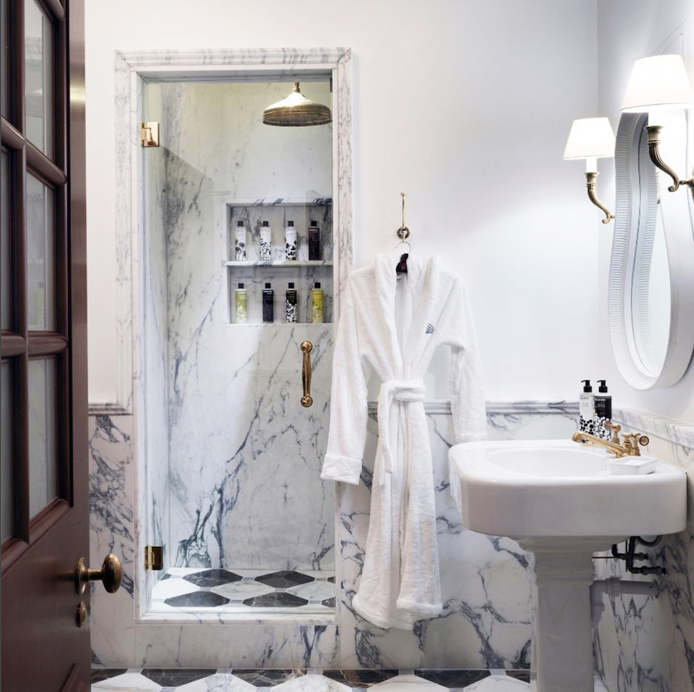Marble tiled bathroom at The Ned || Bathroom renovation tips by First Sense