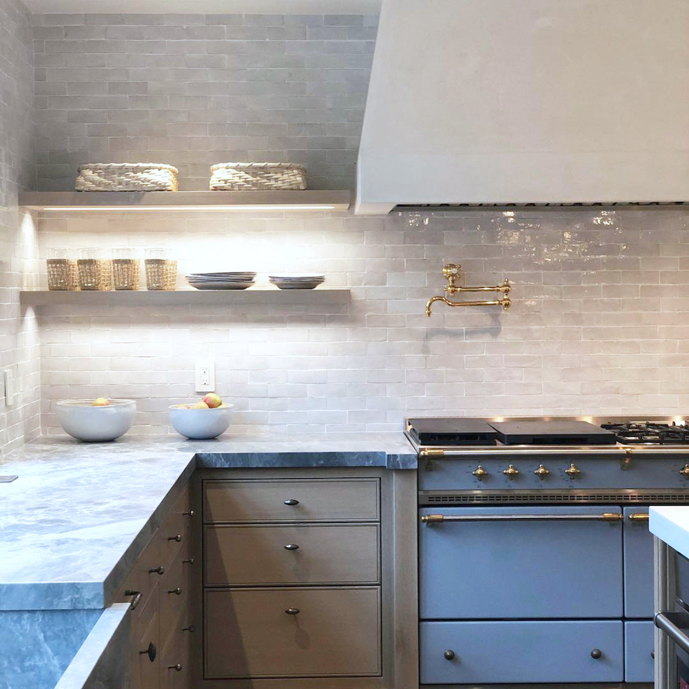 Grey kitchen with blue Lacanche // M. Elle Design