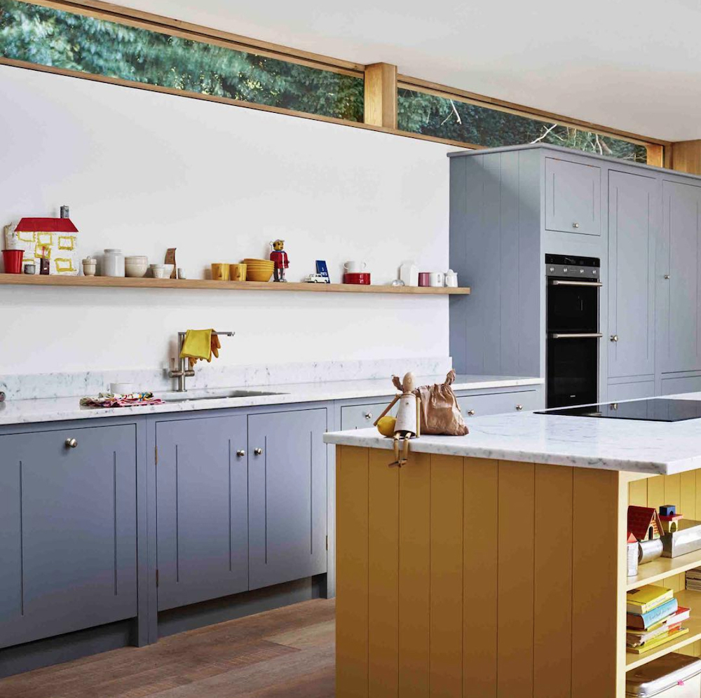 Grey kitchen with yellow island // British Standard
