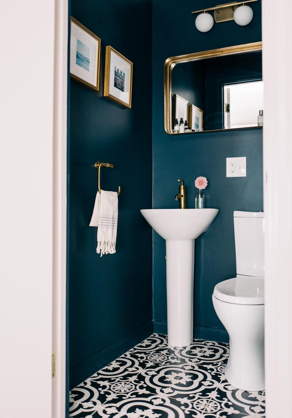Hague Blue powder room with gold fittings // Jess Ann Kirby