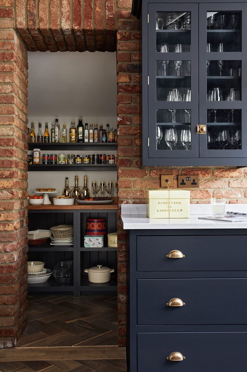 Small walk-in under stairs pantry || First Sense kitchen renovation inspiration