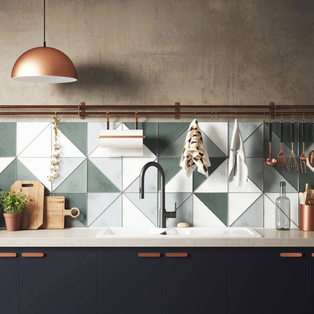 Green tiled splashback || Colour in the kitchen - FIRST SENSE