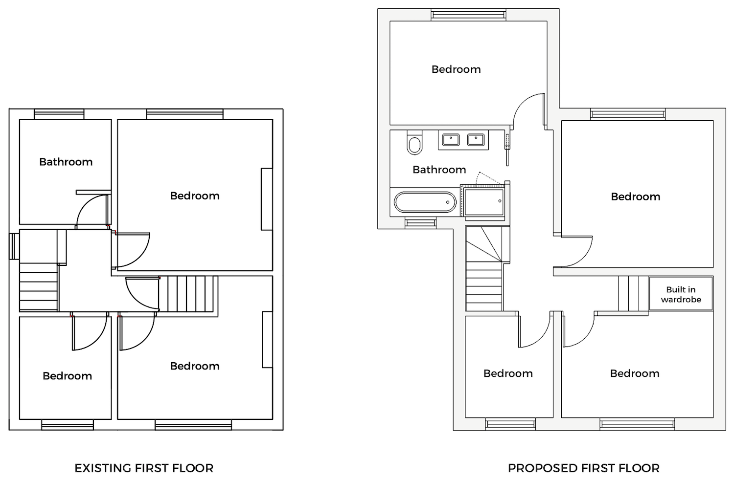 Existing and proposed first floor layout - First Sense Renovation