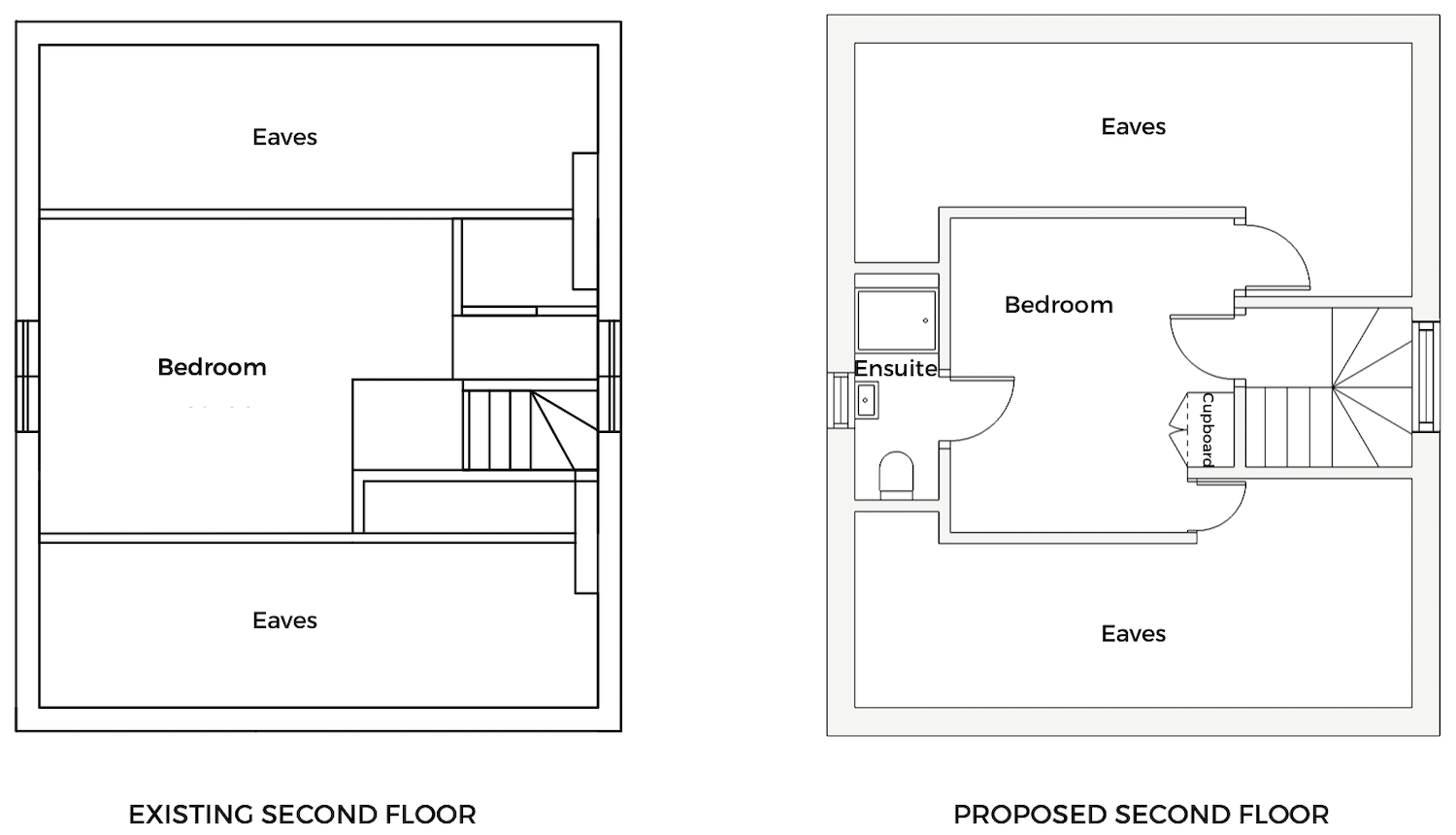 Existing and proposed second floor layout - First Sense Renovation