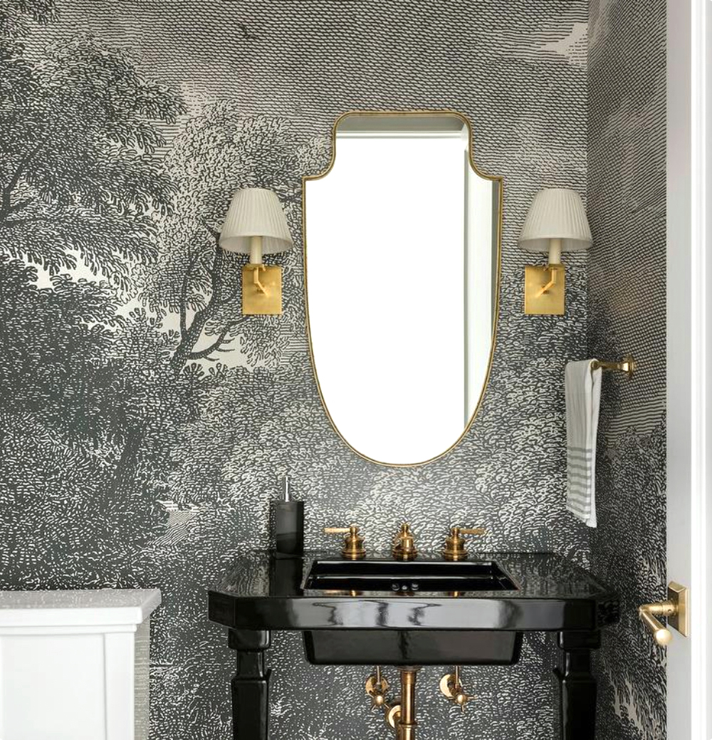 Cloakroom with monochrome wallpaper mural - Refined Custom Homes || 15 small cloakrooms / powder rooms that are big on style - FIRST SENSE