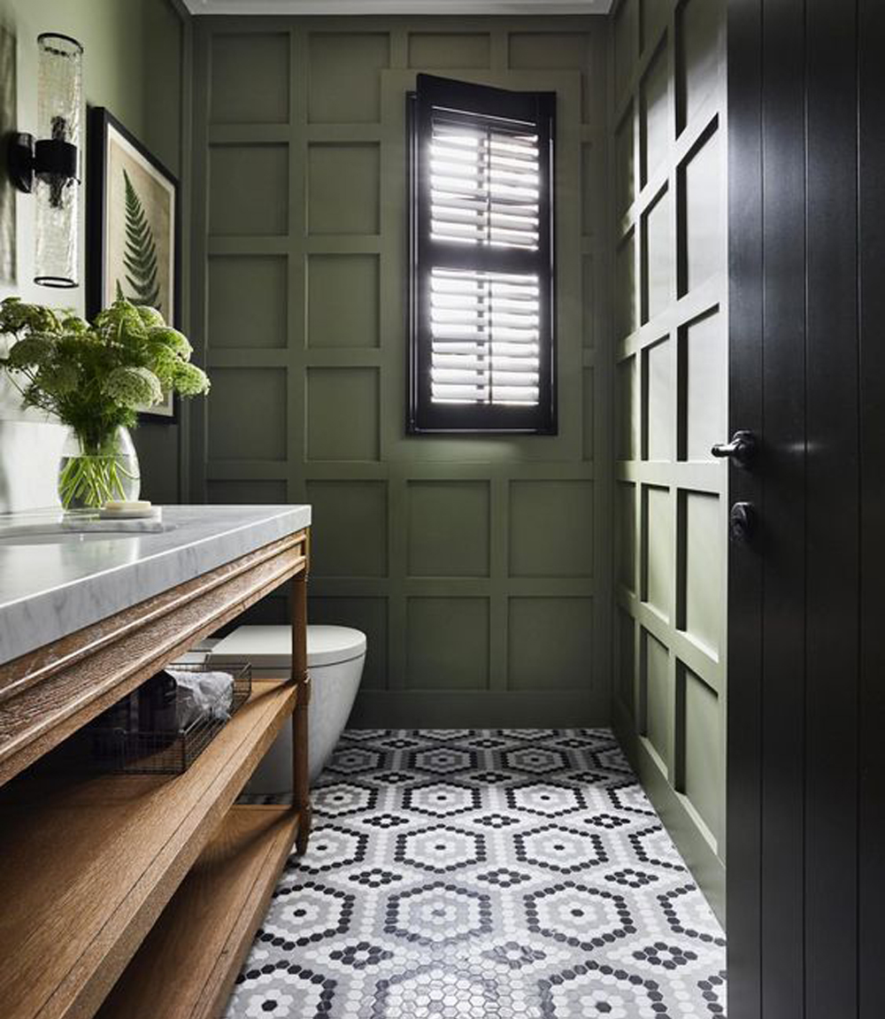 Green panelled powder room with wooden vanity - Kate Walker Design || 15 small cloakrooms / powder rooms that are big on style - FIRST SENSE