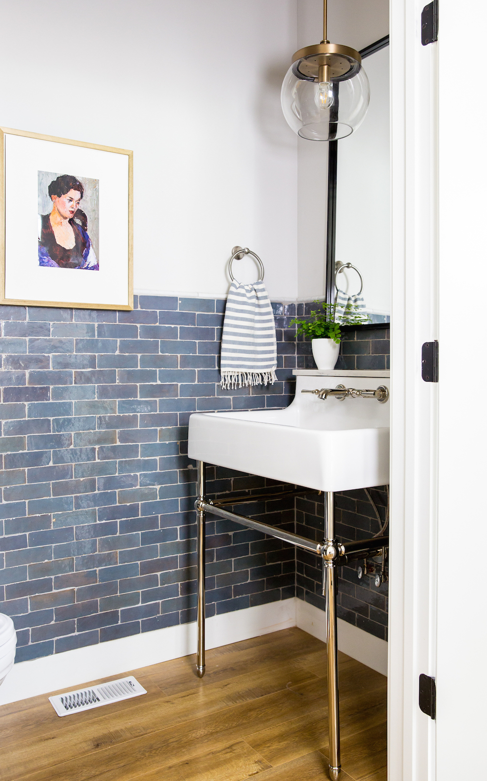 Powder room with blue zellige tile - House of Jade Interiors || 15 small cloakrooms / powder rooms that are big on style - FIRST SENSE