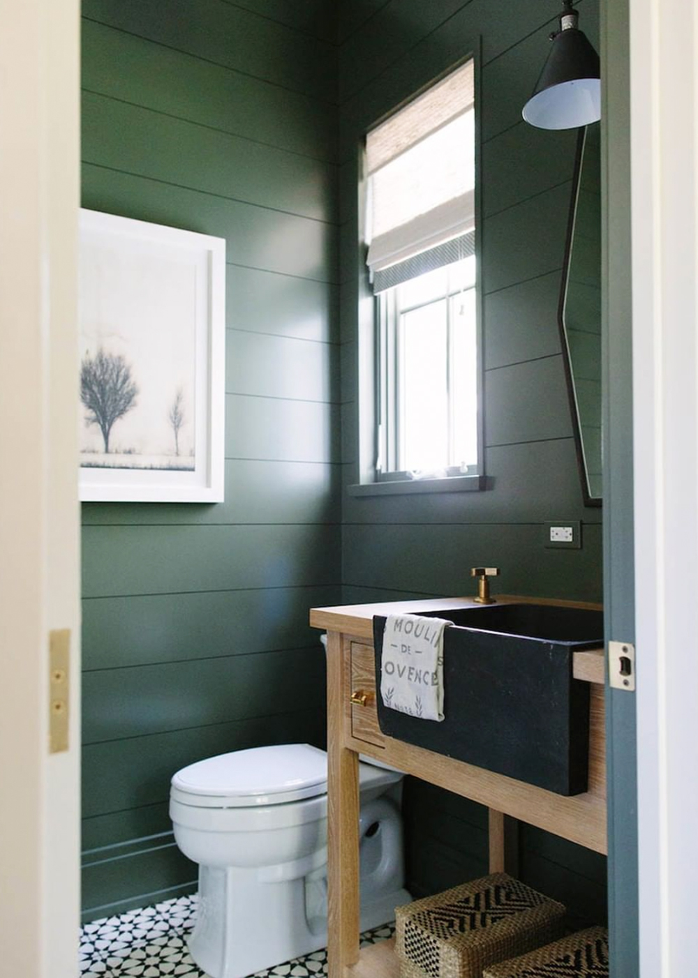 Powder room with green horizontal shiplap - Kate Marker Interiors || 15 small cloakrooms / powder rooms that are big on style - FIRST SENSE