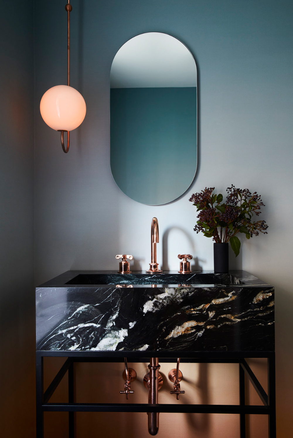 Powder room with ombre wallpaper and marble basin on stand - Space Exploration Design || 15 small cloakrooms / powder rooms that are big on style - FIRST SENSE