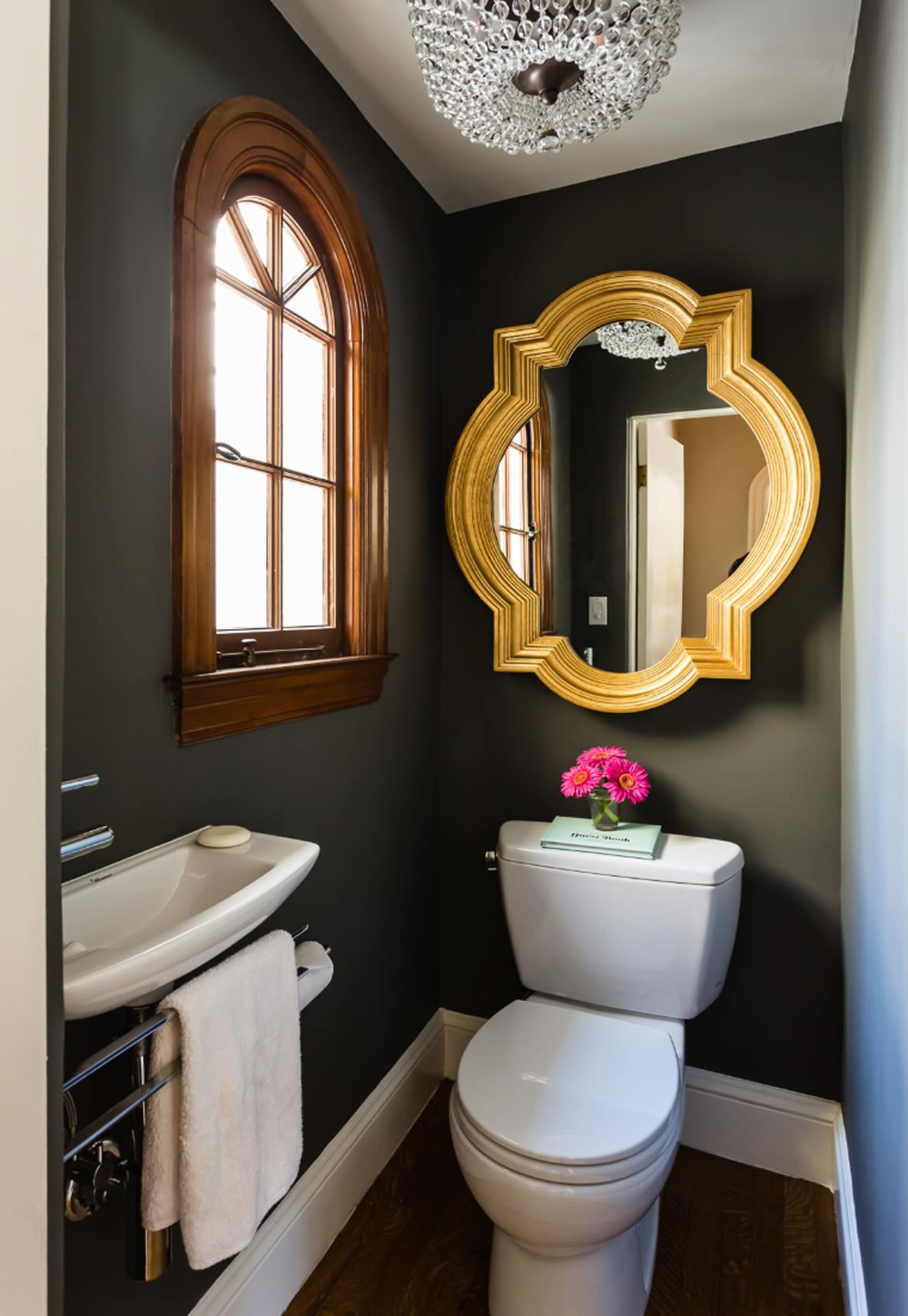 Small dark cloakroom with feature mirror - JL Interior Design || 15 small cloakrooms / powder rooms that are big on style - FIRST SENSE