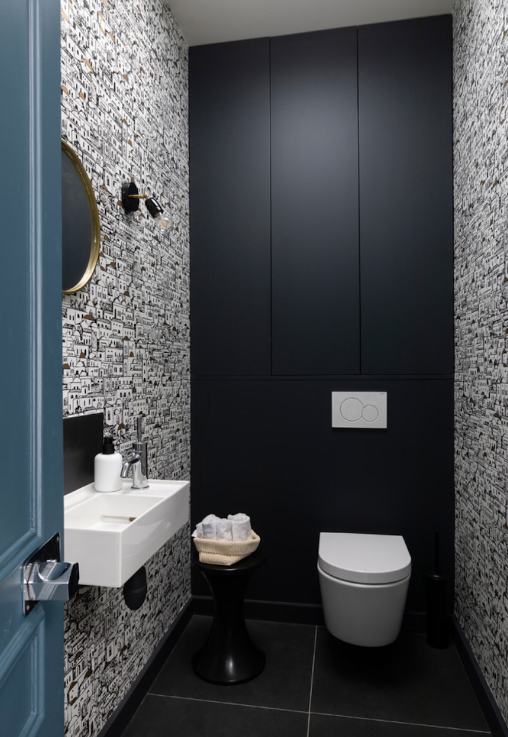 Wallpapered cloakroom with hidden storage - Archipelles || 15 small cloakrooms / powder rooms that are big on style - FIRST SENSE