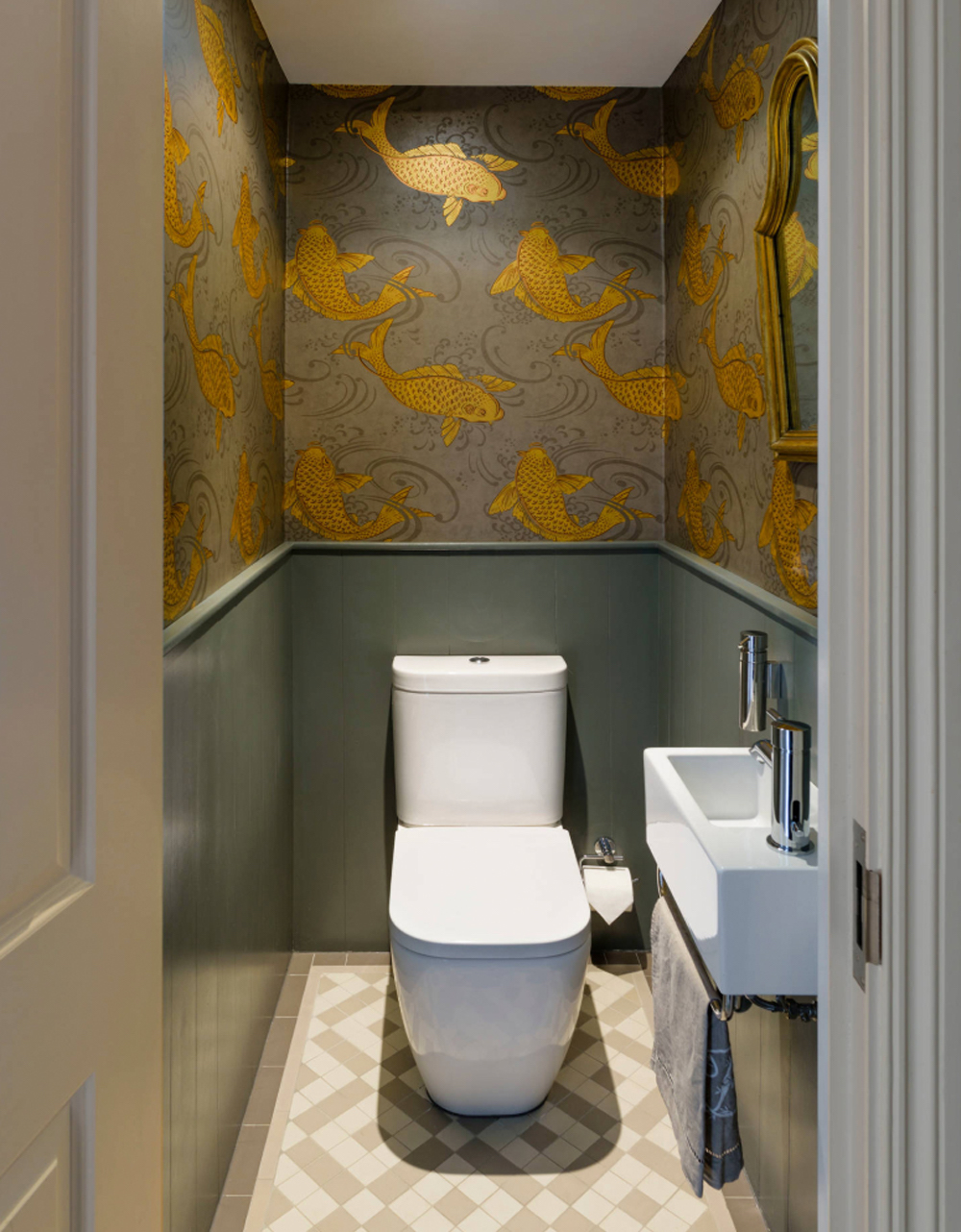 Cloakroom with Osborne & Little Derwent wallpaper - Brian O'Tuama Architects || 15 small cloakrooms / powder rooms that are big on style - FIRST SENSE