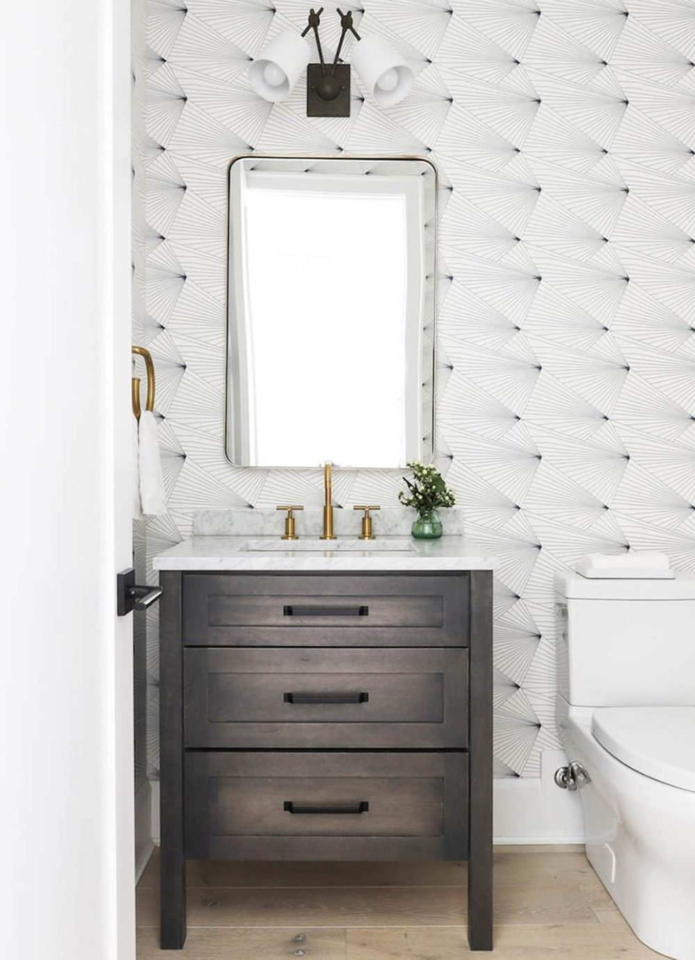 White wallpapered powder room by Kate Marker Interiors || 15 small cloakrooms / powder rooms that are big on style - FIRST SENSE