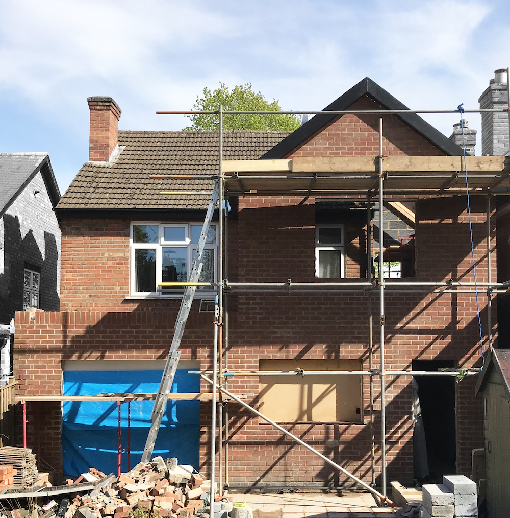 First Sense Renovation - back of house - extension shell built