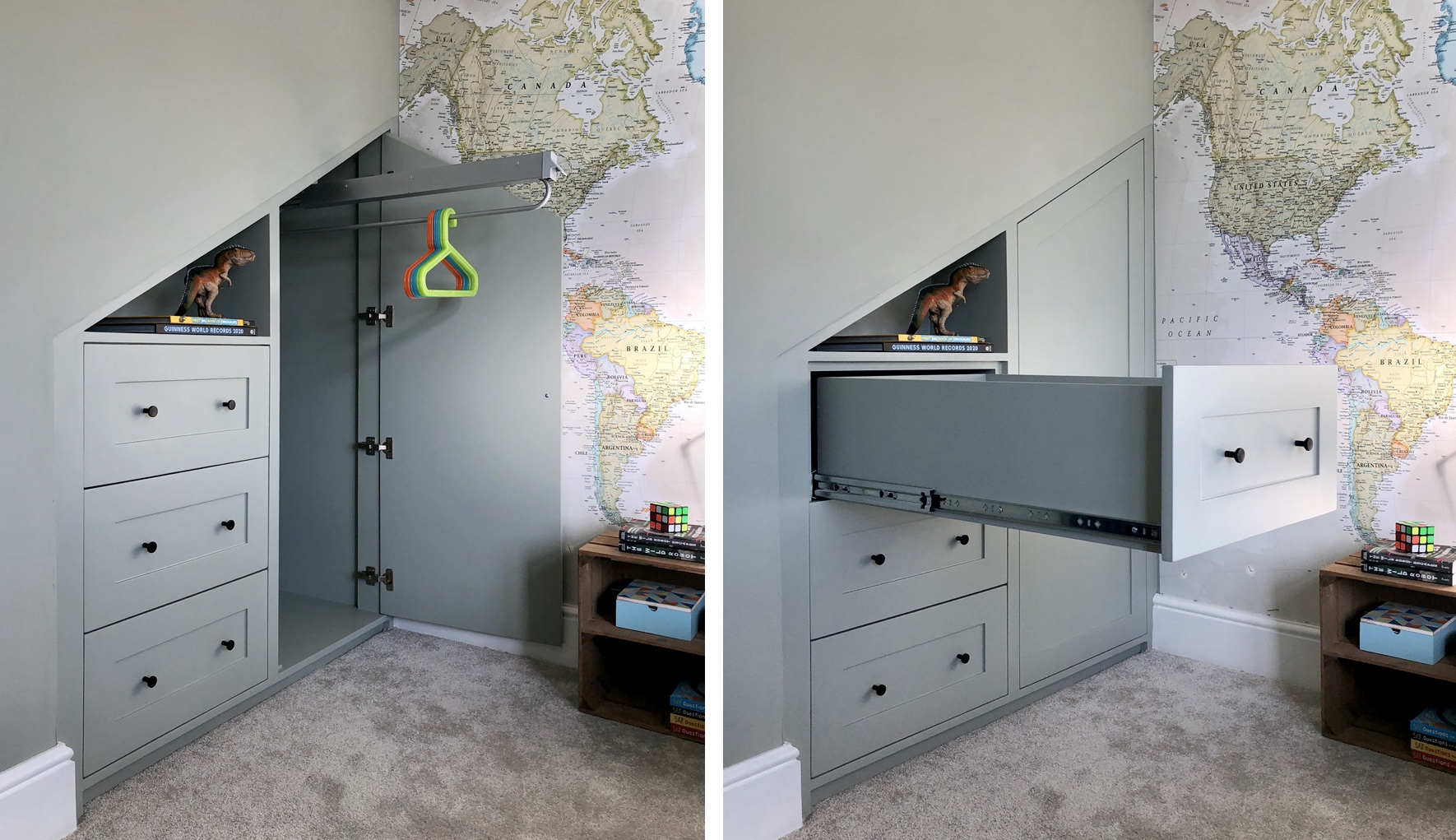 Custom wardrobe with a pull out hanging rail and extra deep drawers
