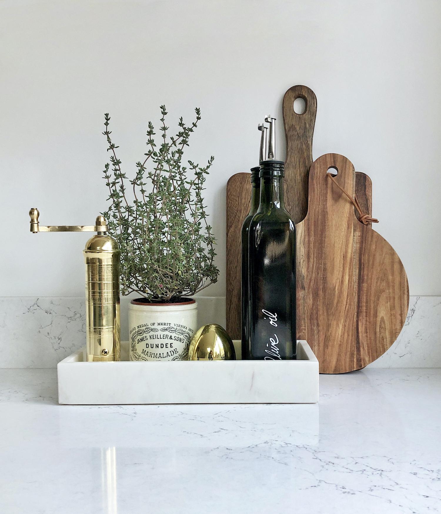 First Sense Interiors - blue shaker kitchen 3 - marble effect quartz worktop