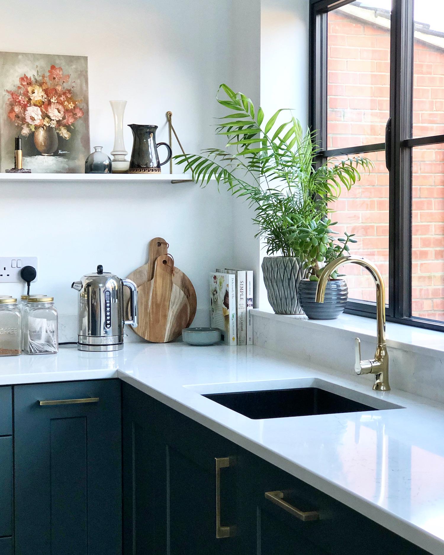 First Sense Interiors - blue shaker kitchen - kitchen corner details