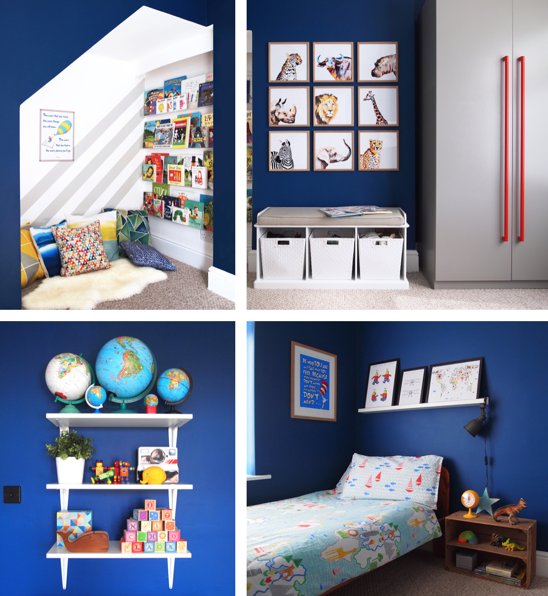 Kid's room with deep blue walls and a cosy reading nook